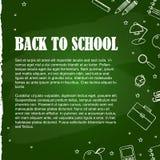 Metta degli elementi della scuola sulla lavagna verde illustrazione vettoriale