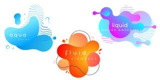 Metta degli elementi liquidi astratti, insegne di pendenza con le forme fluide scorrenti sottragga la priorit? bassa ENV 10, vett illustrazione vettoriale
