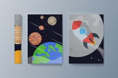 Metta degli opuscoli per esplorazione spaziale e la ricerca di gravità illustrazione vettoriale