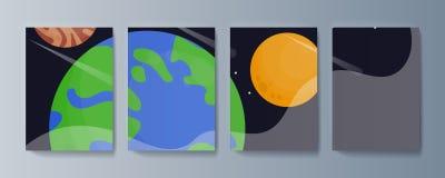 Metta degli opuscoli per esplorazione spaziale e la ricerca di gravità illustrazione di stock