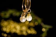 Metta degli orecchini della perla Fondo, sveglio fotografia stock