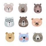 Metta degli orsi svegli del fumetto Piccole teste dell'orso di vettore illustrazione di stock