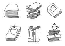 Metta degli scarabocchi disegnati a mano del libro Scarabocchi fatti a mano svegli isolati su fondo bianco immagini stock