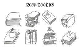 Metta degli scarabocchi disegnati a mano del libro Scarabocchi fatti a mano svegli isolati su fondo bianco fotografie stock libere da diritti
