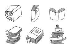 Metta degli scarabocchi disegnati a mano del libro Scarabocchi fatti a mano svegli isolati su fondo bianco fotografia stock