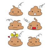Metta degli smiley divertenti svegli dell'emoticon della poppa Icone cacate emozionali di kawaii Felice, sorridere, arrabbiato, t illustrazione vettoriale