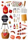 Metta degli strumenti e delle attrezzature del barbecue per tempo libero della famiglia illustrazione vettoriale