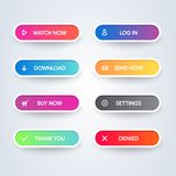 Metta dei bottoni materiali moderni variopinti di stile su fondo bianco Linea piana differente raccolta di colori e delle icone d illustrazione vettoriale
