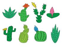 Metta dei cactus e dei succulenti divertenti svegli disegnati a mano Oggetti isolati su priorit? bassa bianca per le icone, emoti royalty illustrazione gratis