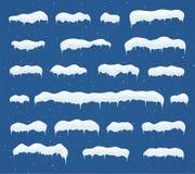 Metta dei cappucci della neve del ghiaccio Cumuli di neve, ghiaccioli, decorazione di inverno degli elementi illustrazione vettoriale