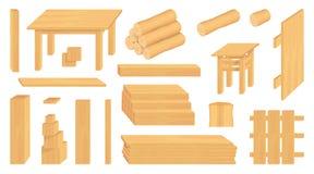 Metta dei ceppi, dei tronchi e delle plance di legno Mestieri di legno differenti silvicoltura Mestieri di legno da vendere Rete  royalty illustrazione gratis