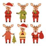 Metta dei cervi del nuovo anno isolati su fondo bianco Personaggi dei cartoni animati Illustrazione di vettore illustrazione di stock