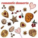 Metta dei dessert romantici: biscotti, panini, caramelle, fiori di anice stellato royalty illustrazione gratis