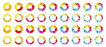 Metta dei diagrammi a torta differenti con i colori dell'arcobaleno delle frecce royalty illustrazione gratis
