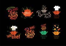 Metta dei distintivi, le etichette, logos per il blog dell'alimento, il negozio di alimenti, libro di ricette e corsi di cottura  illustrazione vettoriale
