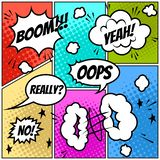 Metta dei fumetti comici su fondo variopinto fotografia stock