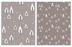 Metta dei modelli senza cuciture di vettore astratto dell'albero Illustrazioni infantili semplici del terreno boscoso illustrazione vettoriale