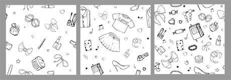 Metta dei modelli senza cuciture di vettore con la roba delle ragazze Illustrazione di modo con l'abbigliamento delle donne, gioi illustrazione vettoriale