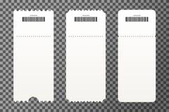 Metta dei modelli vuoti del biglietto isolati su fondo trasparente Modello in bianco dei biglietti per l'entrata al concerto illustrazione di stock