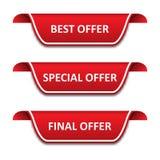 Metta dei nastri delle etichette Migliore offerta, offerta speciale, offerta finale royalty illustrazione gratis