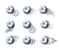 Metta dei palloni da calcio muoventesi di vettore illustrazione vettoriale