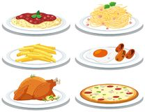 Metta dei pasti differenti illustrazione vettoriale