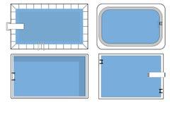Metta dei piani della piscina nella vista superiore fotografie stock