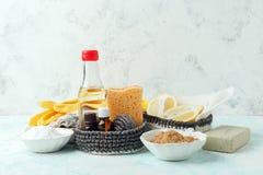 Metta dei prodotti di pulizia naturali ecologici sul tavolo da cucina di legno: senape, soda, oli essenziali, spugna di cellulosa fotografia stock