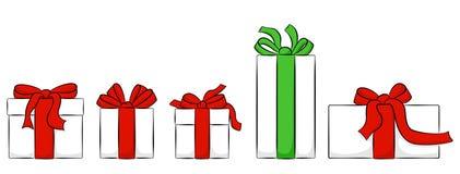 Metta dei regali di natale isolati su bianco illustrazione di stock