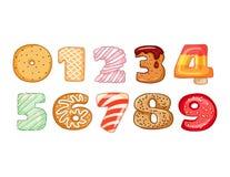 Metta dei simboli saporiti di numeri Delizioso, dolce, lustrato, cioccolato, numeri di fonte squisiti, saporiti, a forma di Tipog illustrazione vettoriale
