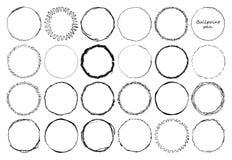 Metta dei telai del cerchio di scarabocchio con effetto della matita Siluetta di forma di lerciume del giro di danno Struttura di illustrazione vettoriale