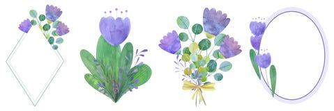 metta dei telai disegnati a mano dell'acquerello dei fiori stilizzati royalty illustrazione gratis