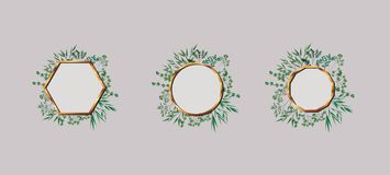 Metta dei telai e delle foglie dorati di geometrics illustrazione vettoriale