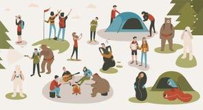Metta dei turisti o dei viaggiatori con zaino e sacco a pelo che lanciano la tenda, facendo un'escursione, sedendosi intorno al f illustrazione vettoriale