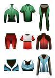 Metta dei vestiti termici di sport variopinto per gli uomini e le donne royalty illustrazione gratis