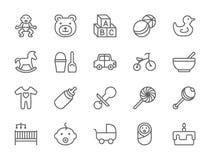 Metta del bambino e della linea icone di infanzia Giocattoli, bicicletta, capezzolo, passeggiatore e più royalty illustrazione gratis