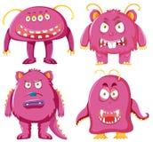 Metta del carattere rosa del mostro illustrazione vettoriale