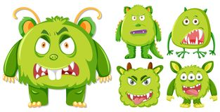 Metta del carattere verde del mostro illustrazione vettoriale