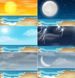Metta del clima differente della spiaggia illustrazione vettoriale