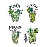 Metta del cocktail e dell'anguria di Mojito freschi Illustrazione variopinta di vettore nello stile e nell'iscrizione di schizzo  royalty illustrazione gratis