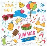 Metta del collage di scarabocchio dell'estate royalty illustrazione gratis