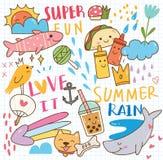 Metta del collage di scarabocchio dell'estate illustrazione di stock