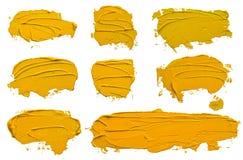 Metta del colpo giallo strutturato della spazzola della pittura ad olio otto illustrazione di stock