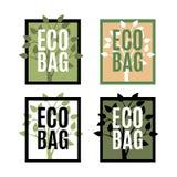 Metta del logos della borsa di Eco con l'albero illustrazione di stock