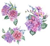 Metta del mazzo floreale d'annata dell'acquerello con l'ortensia di fioritura royalty illustrazione gratis