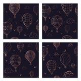 Metta del modello senza cuciture con i palloni nei colori monocromatici Molti aerostati a strisce diversamente colorati che volan royalty illustrazione gratis