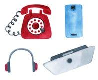 Metta del telefono moderno e telefono d'annata, computer portatile e cuffie illustrazione vettoriale