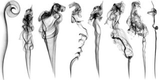 Metta del vapore e del fumo su fondo bianco fotografia stock