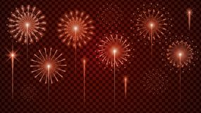 Metta del vettore del fuoco d'artificio realistico con variopinto su fondo trasparente Disegno dell'illustrazione illustrazione f royalty illustrazione gratis
