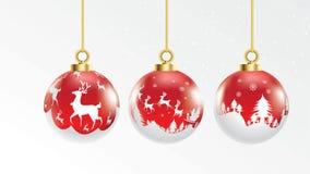 Metta del vettore palle trasparenti rosse e bianche di natale con gli ornamenti decorazioni realistiche isolate raccolta di vetro illustrazione di stock